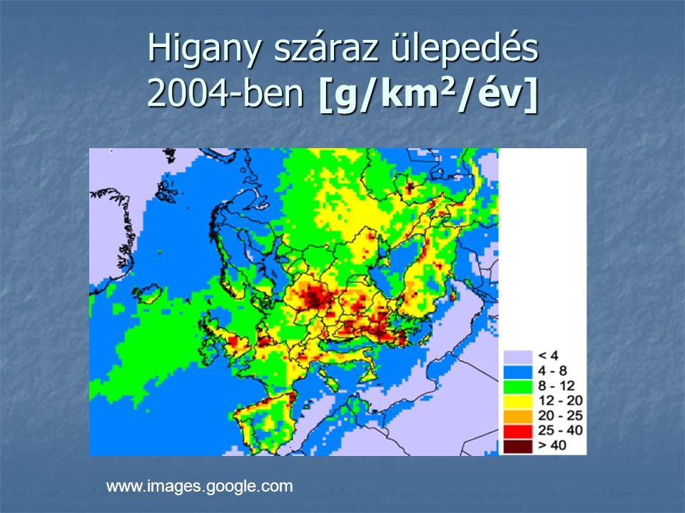 Higany száraz ülepedés 2004-ben [g/km2/év]